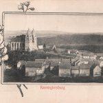 Ortsansicht von Nordwesten; auf der Ansichtskarte fehlt die evangelische Kirche (die heutige wurde 1907/08 errichtet); am 26.11.1907 postalisch gelaufen