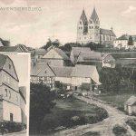Unterstraße mit evangelischer Kirche und Hunsrückdom von Süden; zusätzlich mit Ansicht der Gastwirtschaft von Christian Morschheiser, um 1912 entstanden