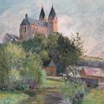 Blick auf den Hunsrückdom von Nordosten mit dem Simmerbach im Vordergrund; farbiges Aquarell; am 23.06.1921 postalisch gelaufen; mehrfach überliefert